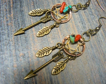 arrow copper dreamcatcher earrings turquoise and red coral  in  tribal boho hippie belly dancer and hipster style