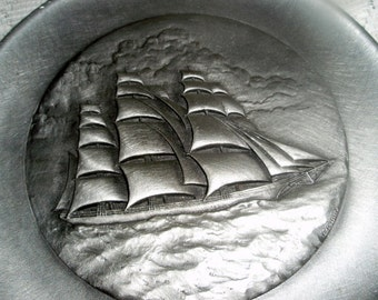 """Pewter Tall Ship"""" The Flying Cloud"""" Hanging Wall Plaque  Vintage collectible Numbered pewter plaque"""