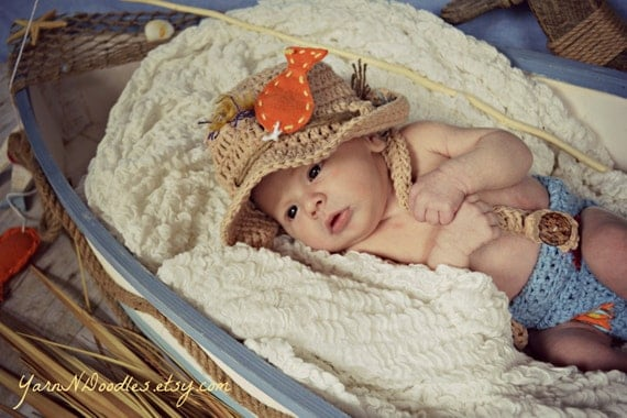 Baby boy crocheted fisherman sun hat overalls by for Baby fishing pole