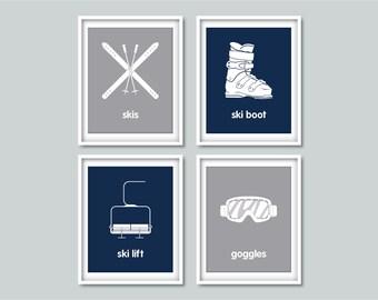 Ski Nursery Winter Sports - Set of 4 art prints - Skiing - Nursery, Home decor, Modern Wall Art