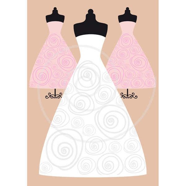 Wedding Gown Clip Art: White Wedding Dresses Digital Clip Art Set Bride Bridal