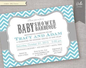 Chevron Blue BBQ Baby Shower invitation - DIY Printable - Backyard BBQ