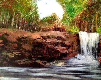 Waterfall forest natue wood land original oil painting art