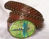 Sculpted Dragonfly on Money Plant Background Belt Buckle with Rustic Finish