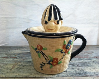 1920-1930 Vintage Hand Painted Japan Basketweave & Floral Reamer Juicer