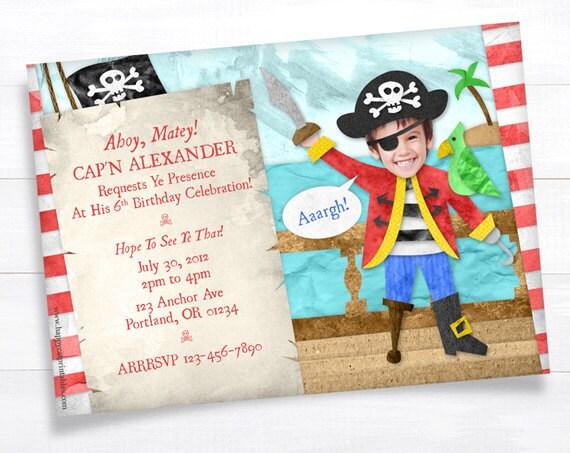 Pirate Invitation, Pirate Birthday Invitation, Pirate Party, Printable Invitation, Photo Picture Kid Birthday Invite, Boy Birthday