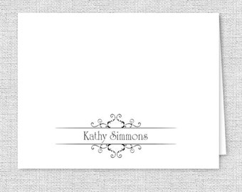 Fancy Scroll Personalized Note Cards - Set of 10 - Personalized Stationery, Your Font & Color Choice