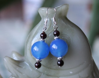 Blue Agate with Red Garnet Earrings, sterling silver hook