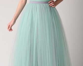 Maxi tutu tulle skirt, maxi petticoat, maxu tutu skirt,  wedding gown, grey&mint tulle skirt, maxi skirt