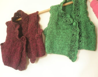 Red-green hand knitted vest