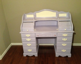 SOLD - Shabby Chic Distressed Lavender Rolltop Desk