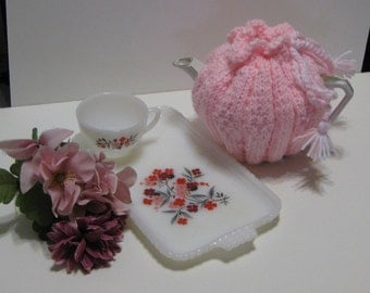 Pink Hand Knit Tea Pot Cozy