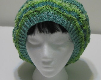 Green and Blue Hand Knit Slouchy Beanie