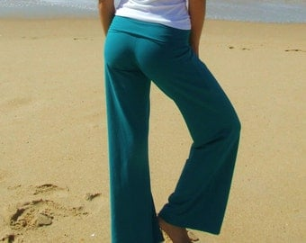 Yoga Pants- Teal- Organic Cotton/Bamboo/Lycra- Eco Friendly