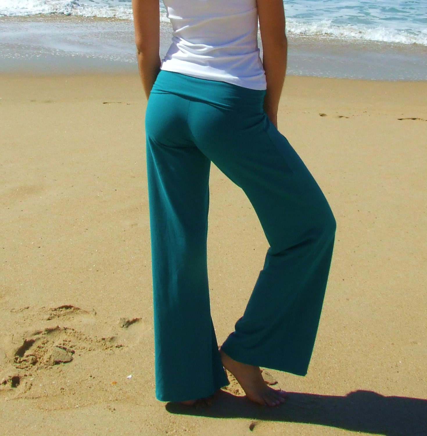 Yoga Pants Teal Organic Cotton/Bamboo/Lycra Eco Friendly