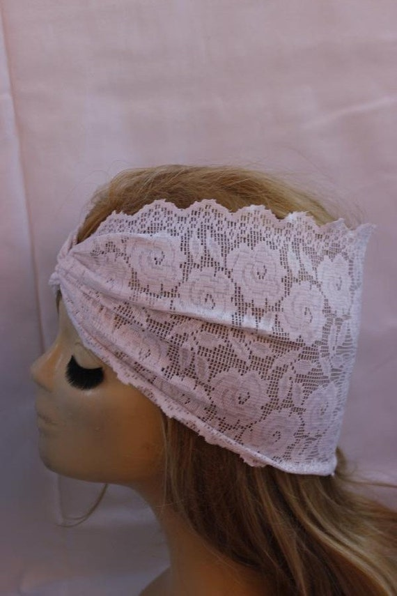 White Stretchy Lace headband ,Turban Headband Twist Stretchy Hair Bands, - Boho Headband Lace Turban Head Scarf
