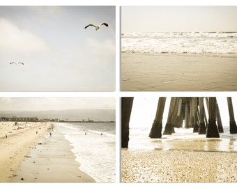 Calming Beach Photography Set of 4 8x10 or 8x12 prints, Ocean, Pier, Water, Waves, Surf, California, Nature, Vintage, Nautical, Pastel