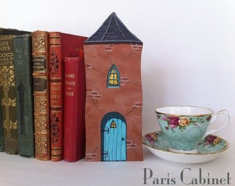 Fairy Door Tower Turret Miniature Elf Gnome Little People Doll Magic Tiny Door Gift Art Acrylic Painting on Wood #26  by Paris Cabinet