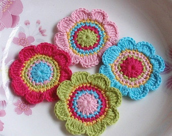 4 Crochet  Flowers In 2  inches YH -171-01