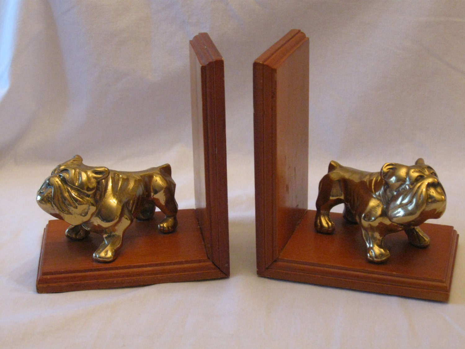 Dog bookends wood with brass bulldogs great vintage pair - Sturdy bookends ...