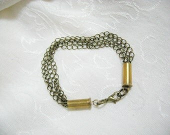 Antiqued bronze bracelet with 22 caliber ammo casings - Antiqued bronze chain and brass ammo shells - unique ooak bracelet