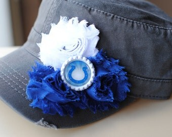Women's Indianapolis Colts Distressed Military Cadet flower hat. Shabby Chic Bling Womens Trucker Baseball Cap