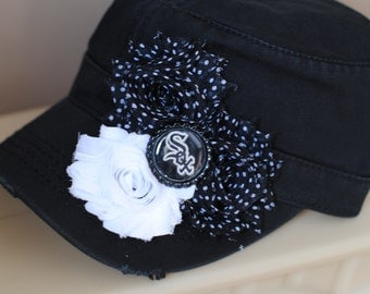Womens Chicago White Sox Hats, Womens Black Hats, and white Dot Shabby Chic Distressed Military Cadet flower hat center.