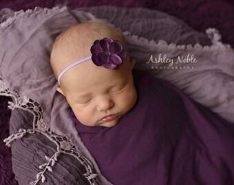 Baby headbands, Purple Hydrangea Flower Headband Photo Prop Vintage Prop Lavender Headband Newborn photography headband