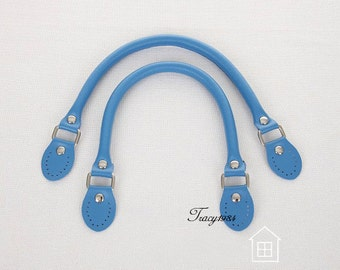 1 pair 16 inch Blue Color Synthetic Leather Bag Handles