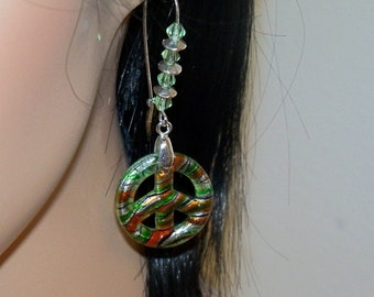 Green Peace Dangle Earrings