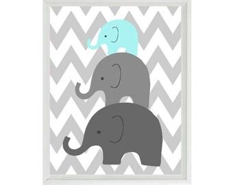 Elephant Nursery Wall Art Chevron  - Mom Baby Dad Family Aqua Gray Decor - Children Kid Baby Room - Wall Art Home Decor  Print