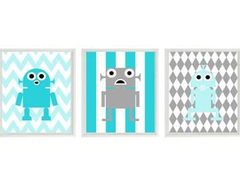 Robot Art Print Set - Boy Room Nursery Chevron Stripes - Aqua Turquoise Gray - Baby Boy Toddler Wall Art Children Room Decor   Prints