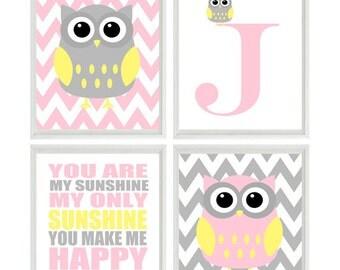 Nursery Art Owl Print Set  - You Are My Sunshine - Initial Owls Gray Pink Yellow - Chevron - Baby Girl Room - Custom Wall Art -   -
