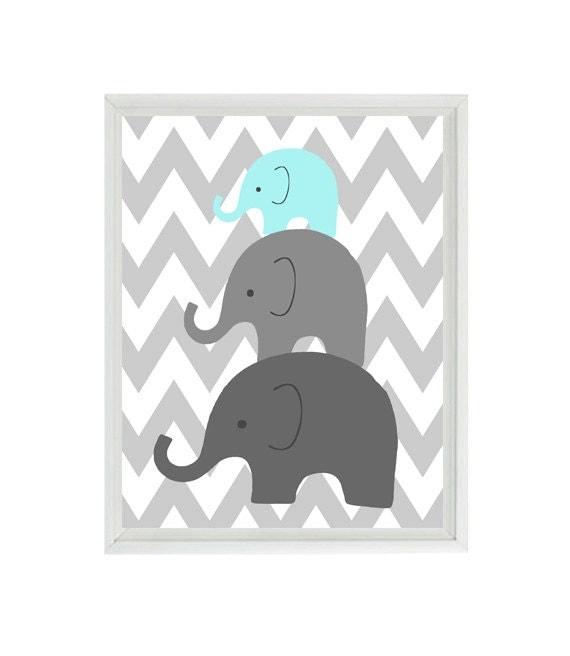 Elephant nursery wall art chevron mom baby dad family aqua for Baby shower wall mural
