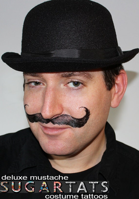 Dapper Mustache Tattoo - temporary tattoos - for costume, party, photo booth and fun
