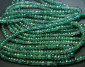 100% NATURAL ZAMBIAN EMERALD,14 Inch Strand,Super Rare Finest Quality Natural Emerald Micro Faceted Rondelles,3-4.5mm