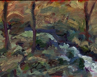 Original Plein Air Landscape Alla Prima Tonal Oil Painting forest Waterfall New England Dark early spring
