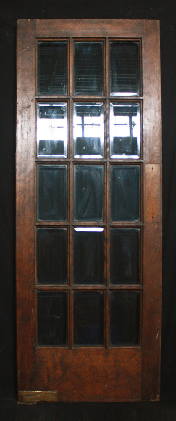30 x 80 antique interior french swinging birch door 15 beveled glass lites from - Swinging double doors interior ...
