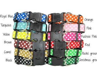 Polka Dot  Dog Collar   (Mini,X-Small,Small,Medium ,Large or X-Large Size)- Adjustable