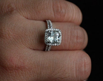 White Topaz Engagement Ring Diamond Halo 14k White Gold White Topaz Cushion 8mm and Diamond Wedding Ring Set