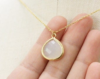 white crystal teardrop necklace
