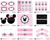 Minnie Mouse Printable Party Complete Set Pink, Digital, DIY