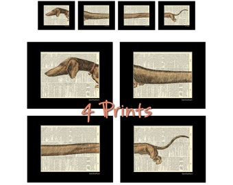 Dachshund 2 Wiener Dog - Dictionary Art Prints - Set of 4 - Book Page Art - Home Decor Print No. P241