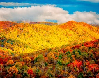 Fall Landscape Photography, Autumn Mountains, Autumn Colors, Shenandoah National Park Virginia, Blue Ridge Mountain Photography 8x12 Print