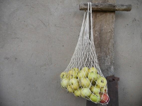Soviet Vintage shopping bag Red Green string bag Net sack USSR era Soviet collectible