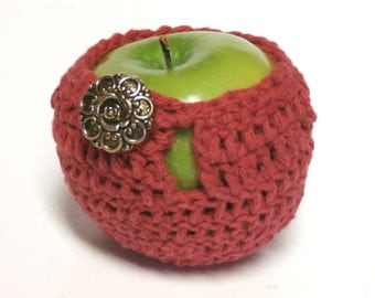 Organic Cotton Apple Cozy With Vintage Button