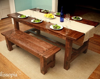 Farmhouse Table, Wood Dining Table, Harvest Dining Table