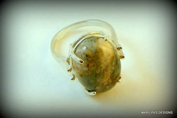 Sterling silver ring, agate ring, picture agate, dinner ring, cocktail ring, renaissance ring, renaissance jewelry, gothic jewelry.