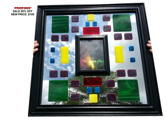 SALE 50% OFF - Electric Block Stained Glass Mirror W/ Picture Frame