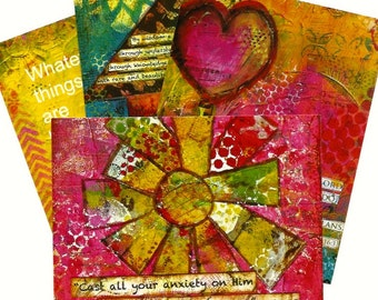 Postcards (4) with Bible verses.  Mothers Day  Variety from original Art with Scripture. Mixed Media. One of each design.